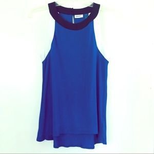DKNY SLEEVELESS TOP IN BLUE, BLACK AND WHITE